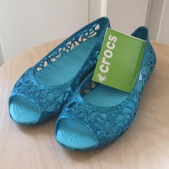 1d2cb6480 Crocs Isabella glitter flat pool blue NEW